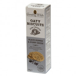 Grandma Wild's Oaty Biscuits for Cheese with Black Pepper & Poppy seeds 130g