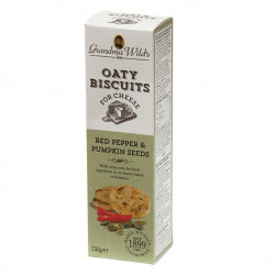 Grandma Wild's Oaty Biscuits for Cheese with Red Pepper & Pumpkin Seeds 130g